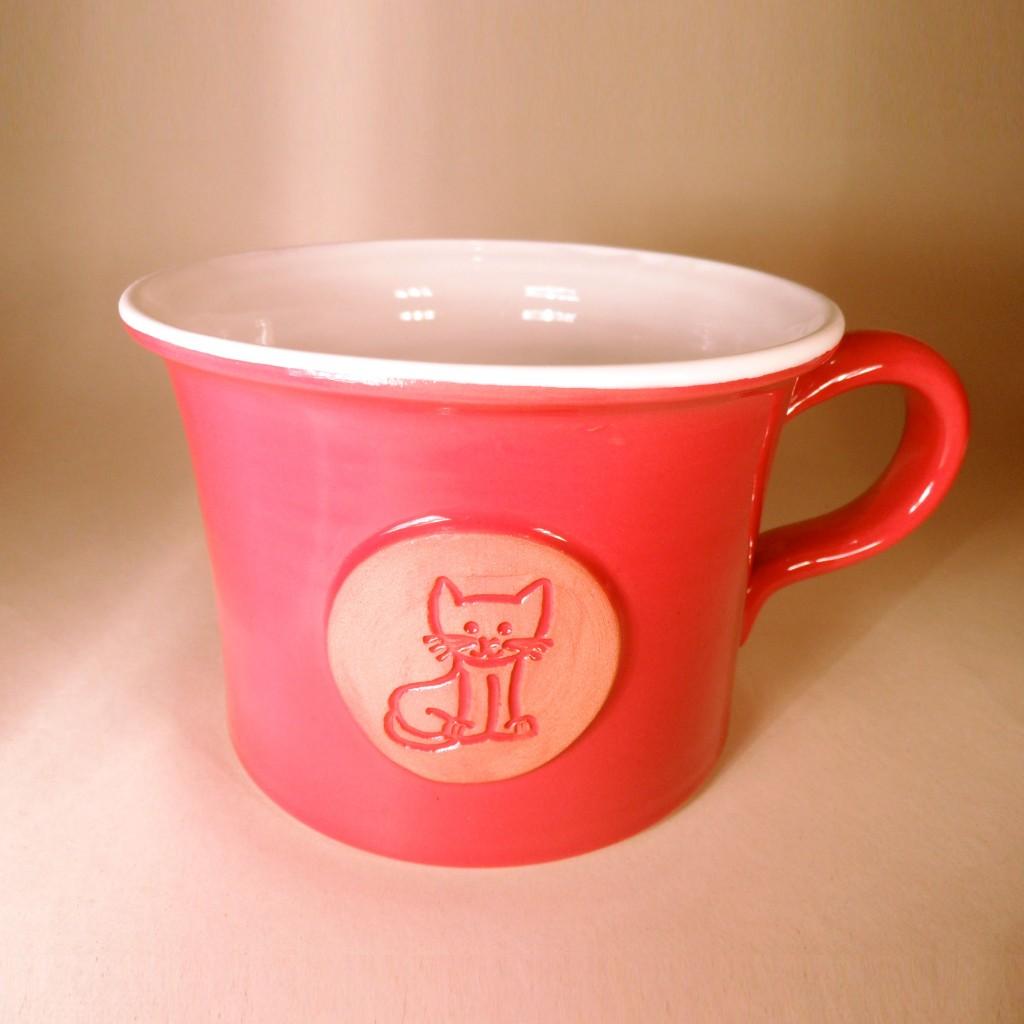 """Hrnek střední """"rovný"""" 0,5 - 0,6l (červená) - kočka"""