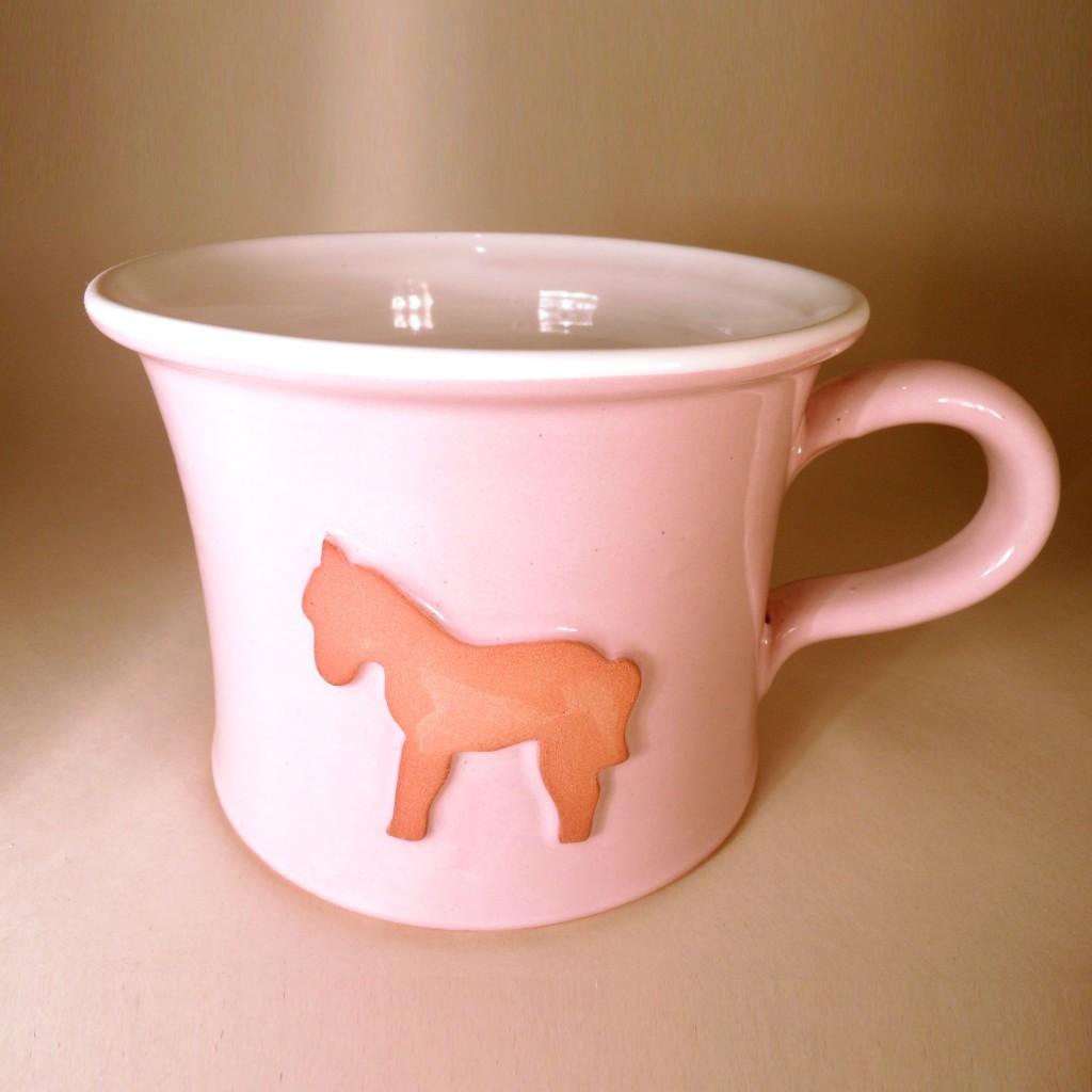 """Hrnek střední """"rovný"""" 0,5 - 0,6l (růžová) - kůň"""