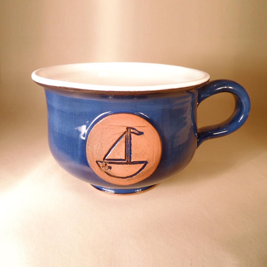 """Hrnek střední """"čajový"""" 0,5 - 0,6l (modrá) - loď"""