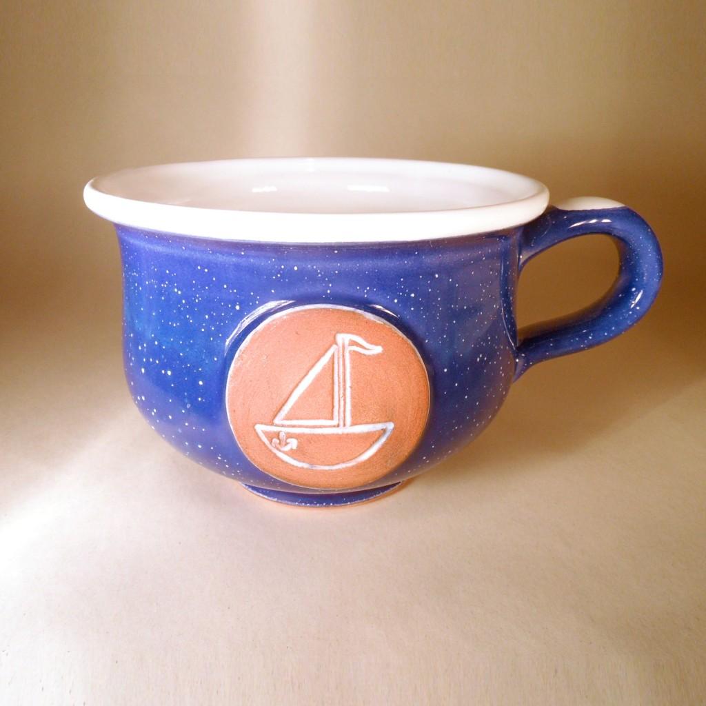 """Hrnek střední """"čajový"""" 0,5 - 0,6l (modrá) - loď2"""