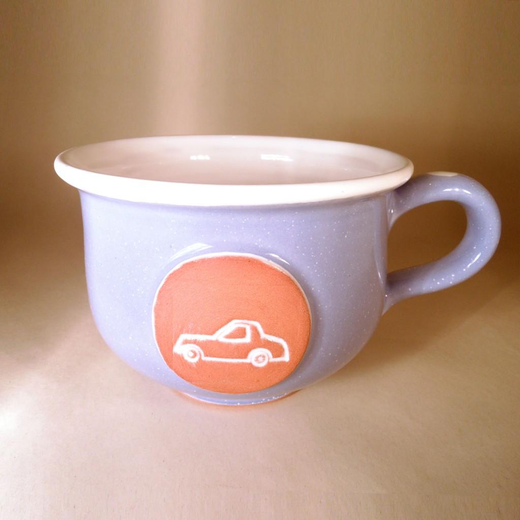 """Hrnek střední """"čajový"""" 0,5 - 0,6l (fialová) - auto"""