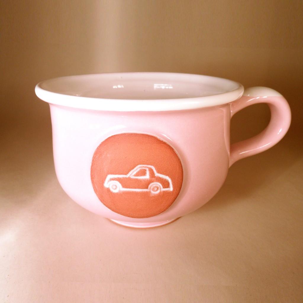 """Hrnek střední """"čajový"""" 0,5 - 0,6l (růžová) - auto"""