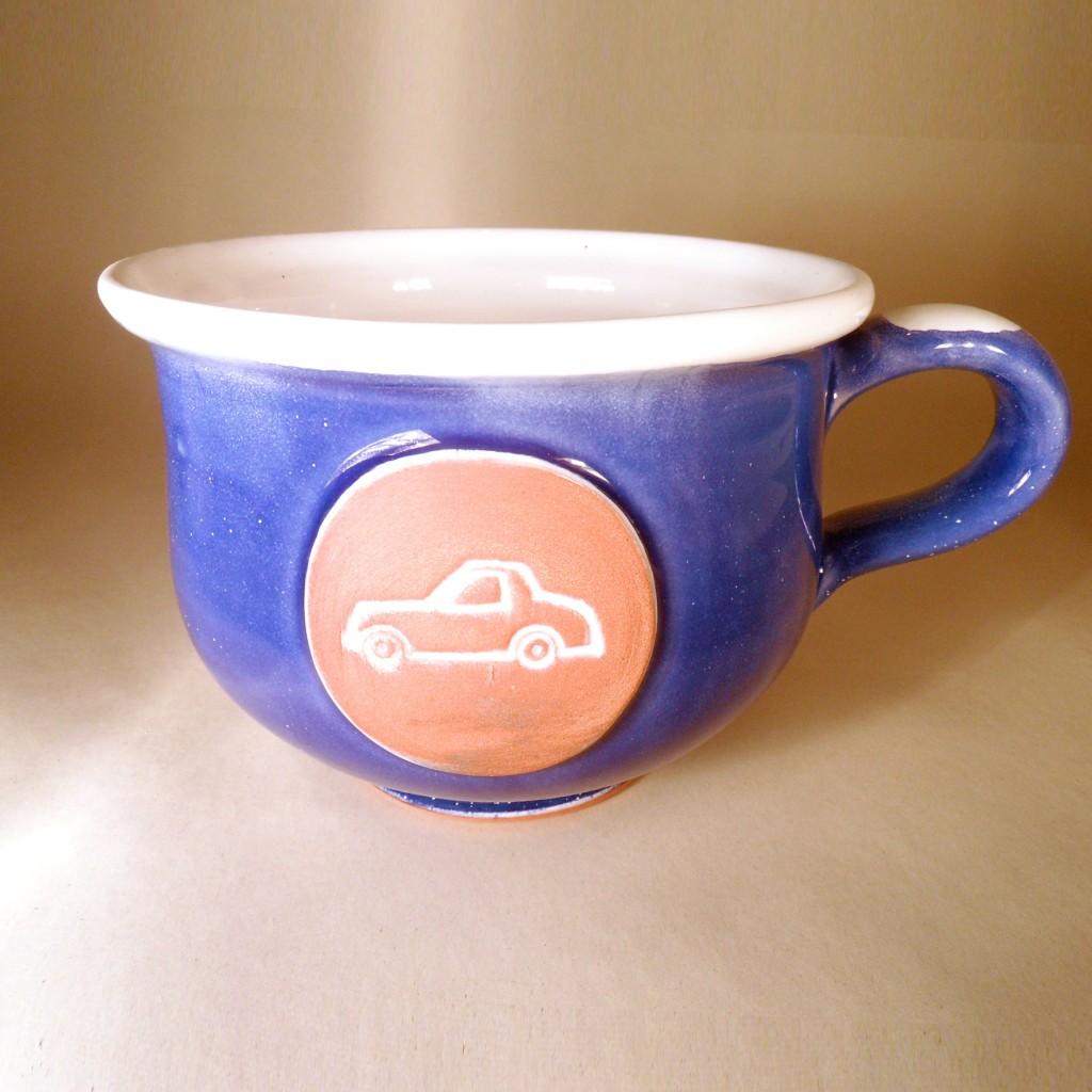 """Hrnek střední """"čajový"""" 0,5 - 0,6l (modrá) - auto"""