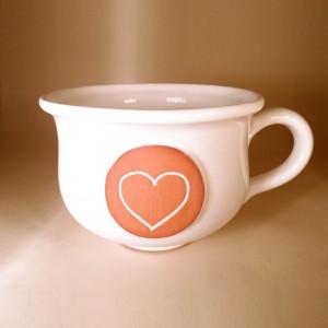 """Hrnek střední """"čajový"""" 0,5 - 0,6l (bílá) - srdce"""