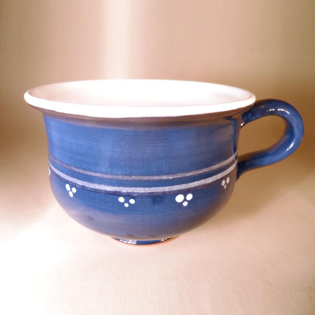 """Hrnek střední """"čajový"""" 0,5 - 0,6l (modrá) - puntíky s proužky"""