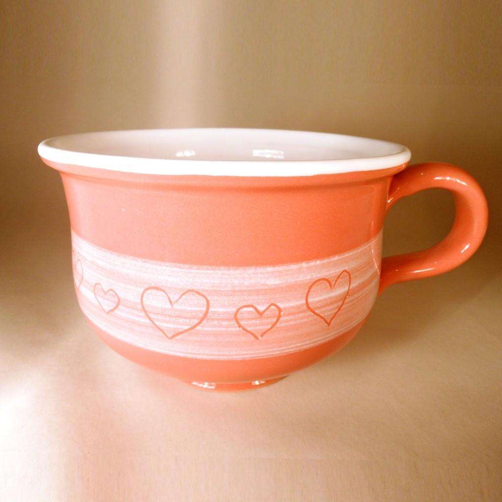 """Hrnek střední """"čajový"""" 0,5 - 0,6l (oranžová) - srdce"""