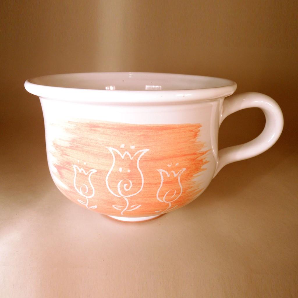 """Hrnek střední """"čajový"""" 0,5 - 0,6l (oranžová) - kytky"""