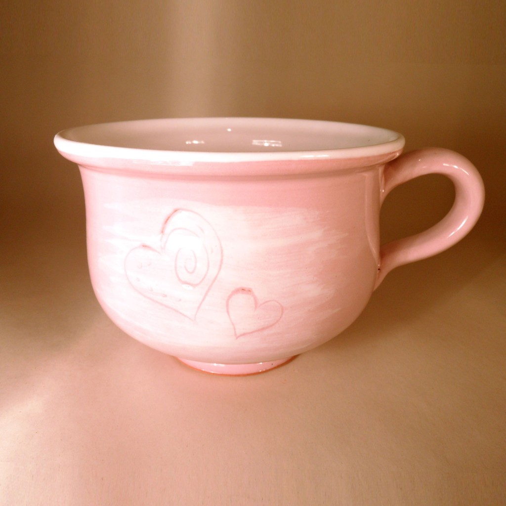 """Hrnek střední """"čajový"""" 0,5 - 0,6l (růžová) - srdce"""