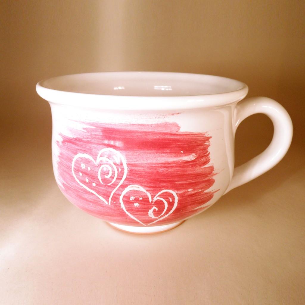 """Hrnek střední """"čajový"""" 0,5 - 0,6l (červená) - srdce"""