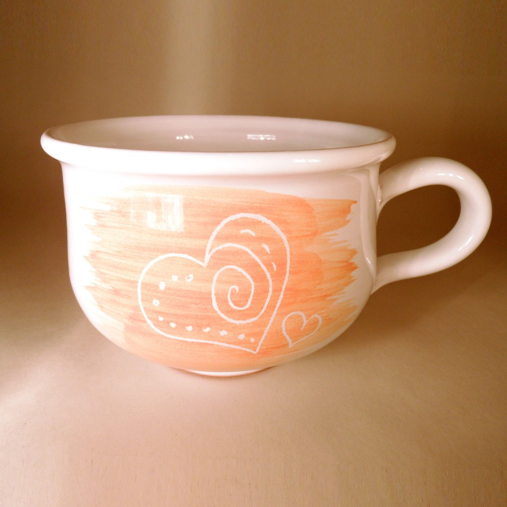 """Hrnek střední """"čajový"""" 0,5 - 0,6l (oranžová) - srdce2"""