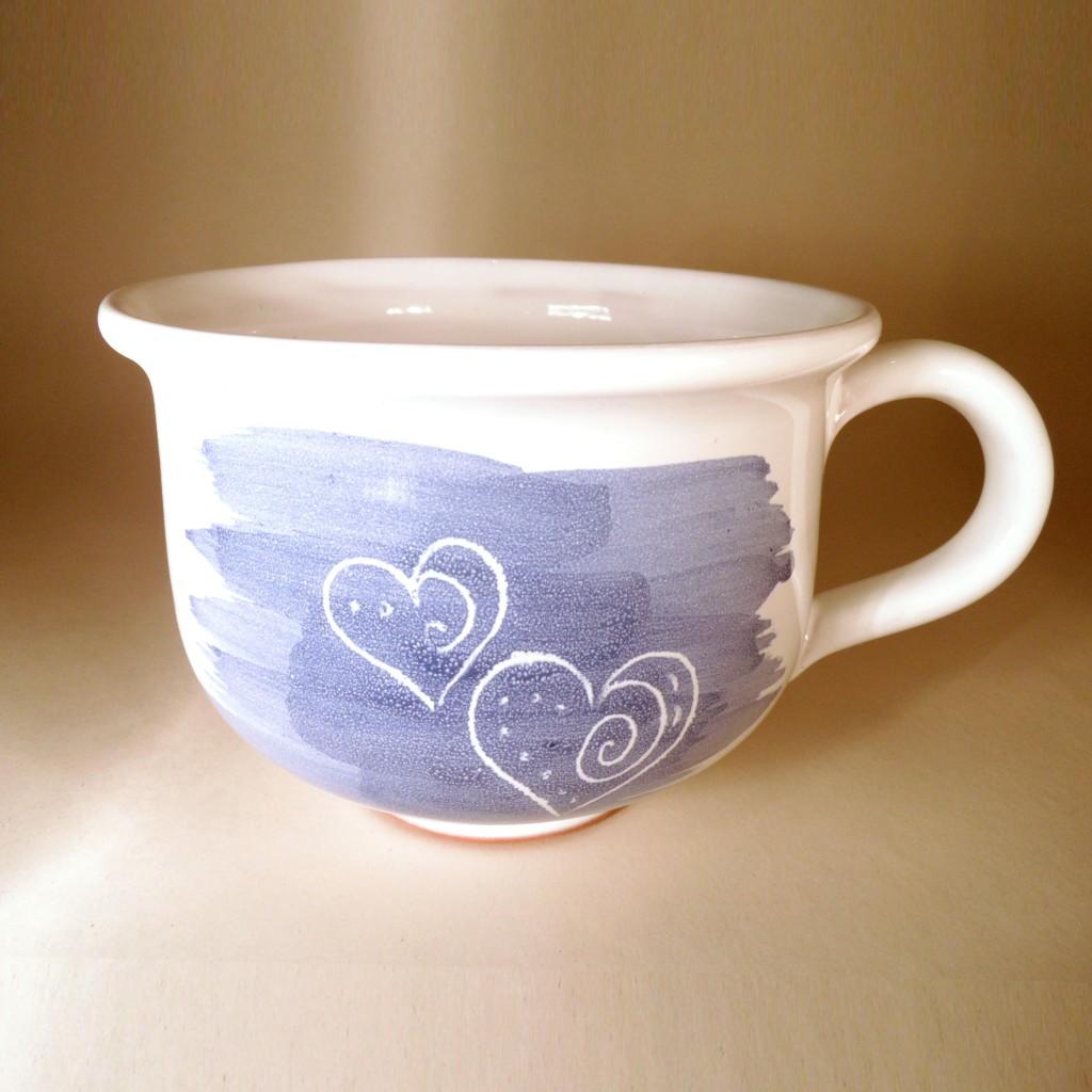 """Hrnek střední """"čajový"""" 0,5 - 0,6l (modrá) - srdce"""