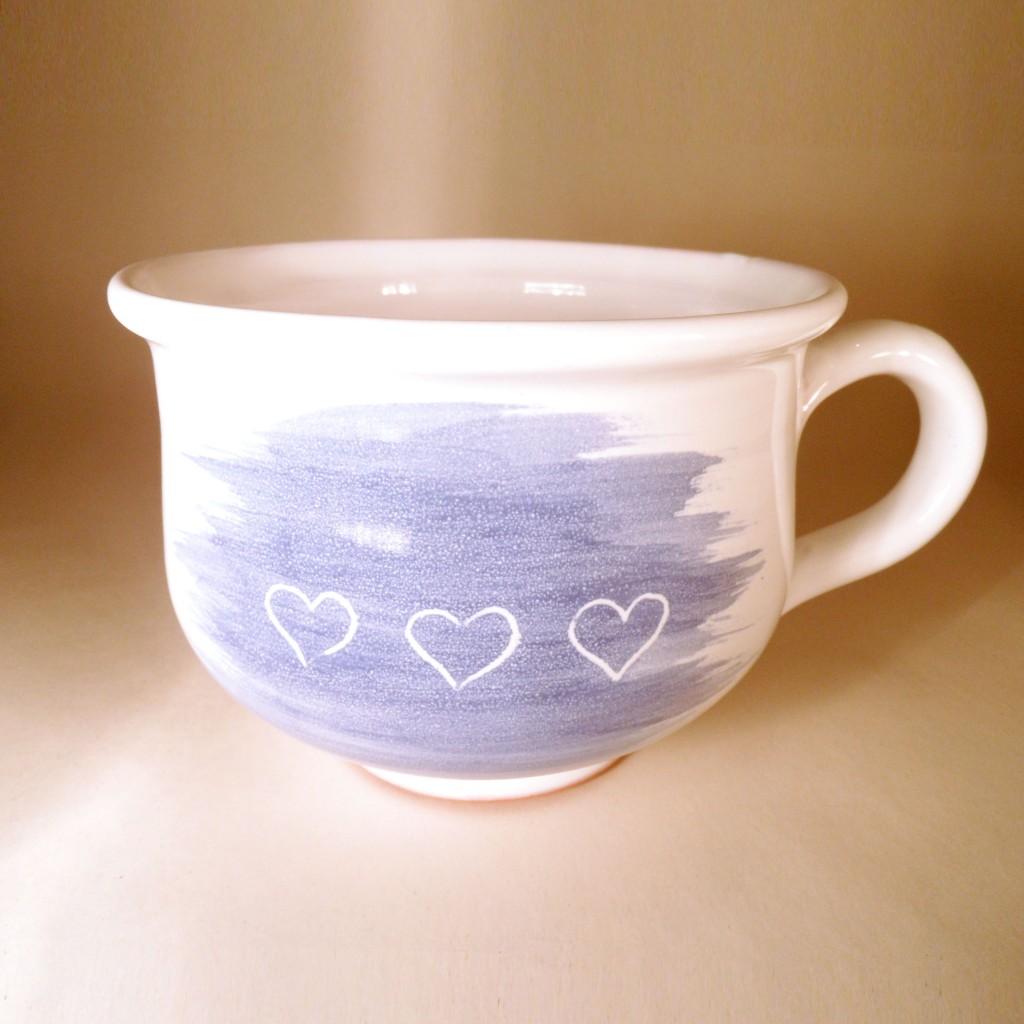 """Hrnek střední """"čajový"""" 0,5 - 0,6l (modrá) - srdce2"""