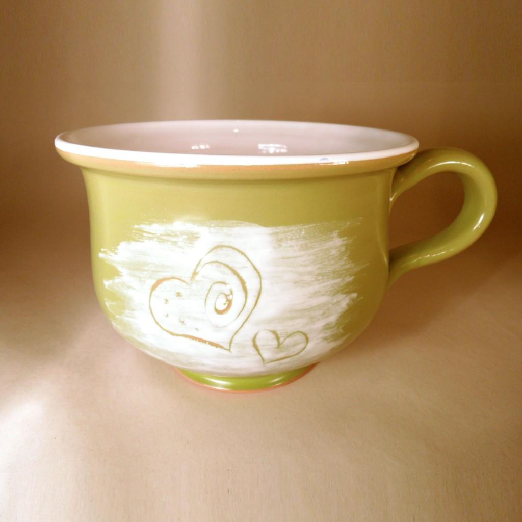 """Hrnek střední """"čajový"""" 0,5 - 0,6l (zelená) - srdce"""