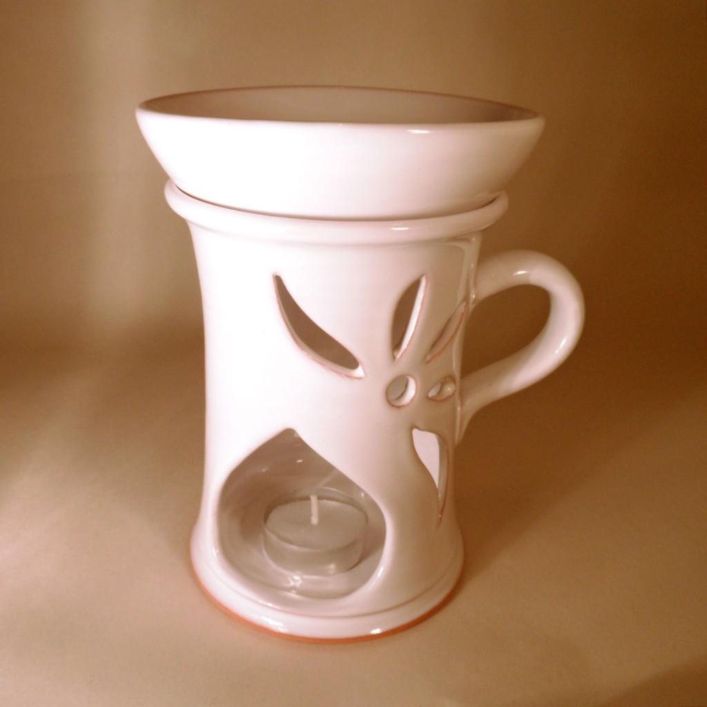 "Aroma lampa velká ""rovná"" s keramický uchem (bílá)"