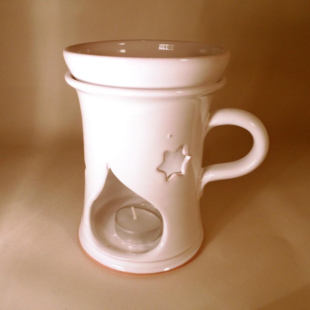 """Aroma lampa velká """"rovná"""" s keramický uchem (bílá) - hvězdy"""