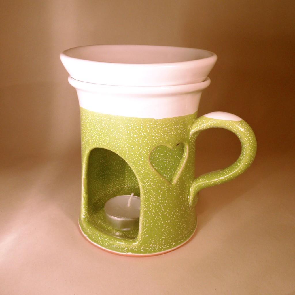 """Aroma lampa velká """"rovná"""" s keramický uchem (zelená) - srdce"""