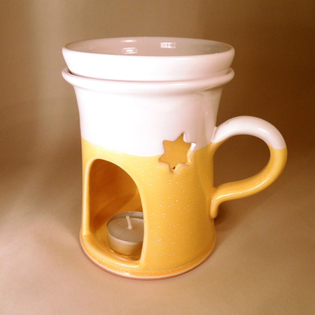 """Aroma lampa velká """"rovná"""" s keramický uchem (žlutá) - hvězdy"""