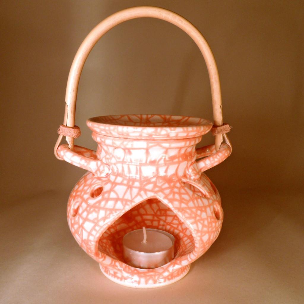 """Aroma lampa malá """"bříško"""" s ratanovým uchem (oranžová)"""