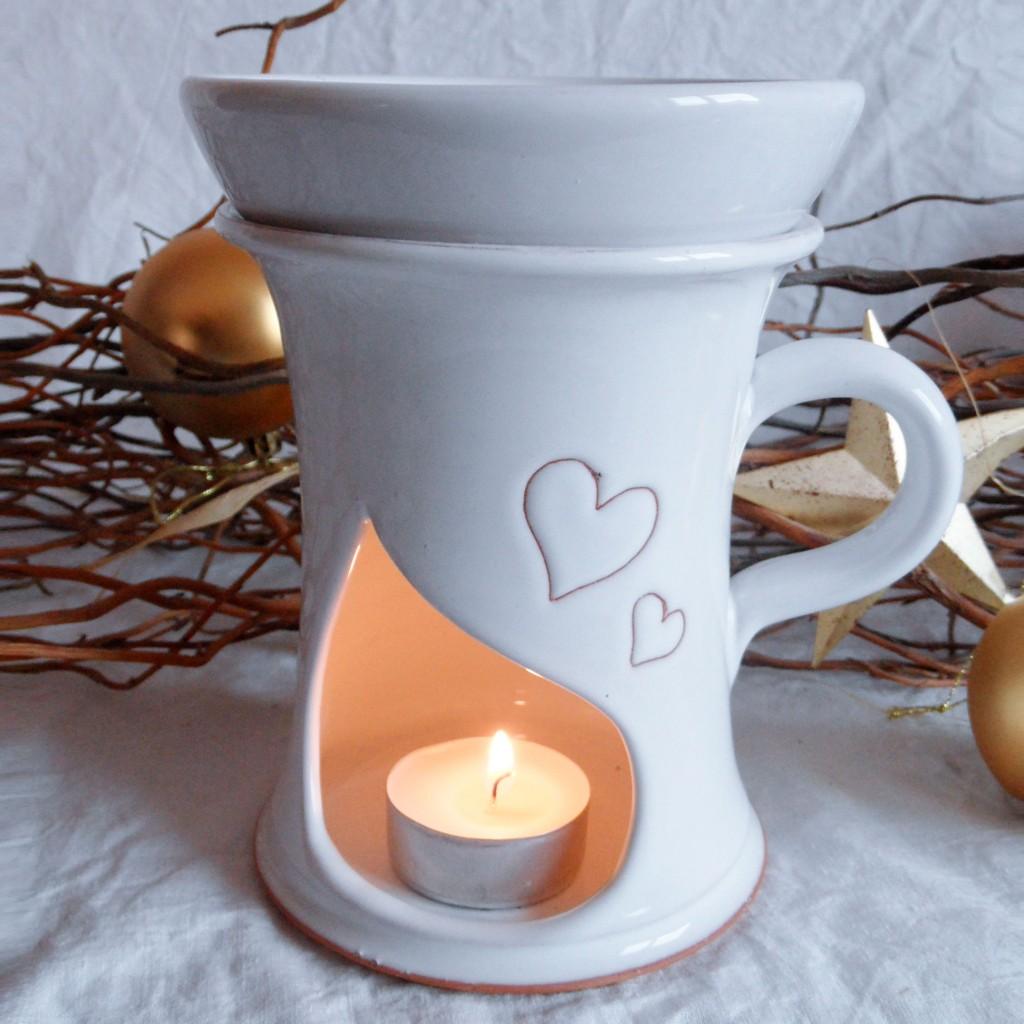 """Aroma lampa velká """"rovná"""" s keramický uchem (bílá) - srdce"""