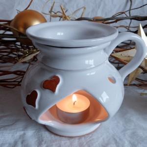"Aroma lampa malá ""bříško"" s keramickým uchem (bílá)"