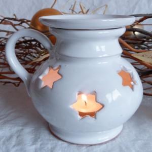 "Aroma lampa malá ""bříško"" s keramickým uchem (bílá)2"