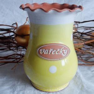 Dóza na vařečky (žlutá) - puntíky